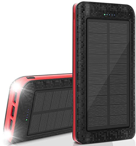 AMAES Solar Powerbank 25000mAh, Externer Akku mit 3 Ausgänge / 2 LED Lampe / IPX5 Wasserdicht, Solar Ladegerät für Smartphones, Tablet, Camping, Reisen, Notfälle