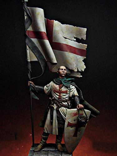 SHUANGBING Decoracion Escultura Estatua Desmontado1/24 75Mm Templario Soldado Estándar, 75Mm (con Base)Figura De ResinaHistóricaModelo En Miniatura Sin Pintar