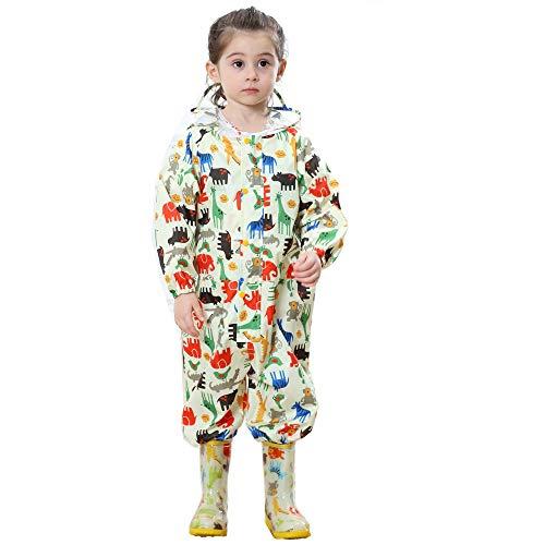 FILOWA Kids Raincoat Puddle Suits Girls Boys Hooded Rainsuit Yellow Rainwear Lightweight Onesies Waterproof Portable Breathable PVC Transparent Hat Brim Zipper Dinosaur Pattern 1-3 Years