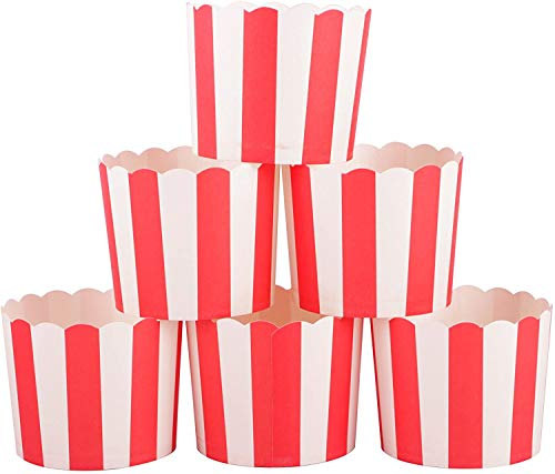 Webake 50 Stück Muffin Förmchen Papier in Weiß und Rot, Kuchenkörbchen für Cupcake im Backtage, Geburtstage, Teekränzchen, Hochzeiten und Partys