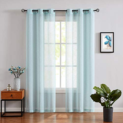 """Fragrantex Turquoise Sheer Window Curtains for Living Room 108"""" inch Long Aqua Blue Curtain Panels Set for Bedroom Grommet Top Tulle Drapes 1 Pair,40W x 108"""" L"""