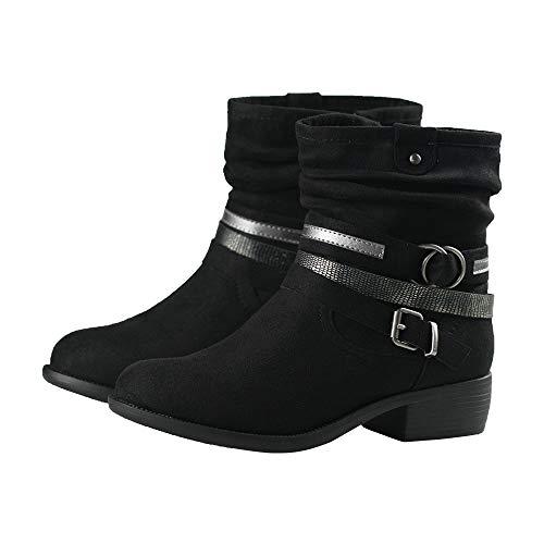 ShoBeautiful Women Ankle Boots Low Heel Faux Suede Mid Calf Buckle Straps Slouchy Bootie SM (10 M US, Black)