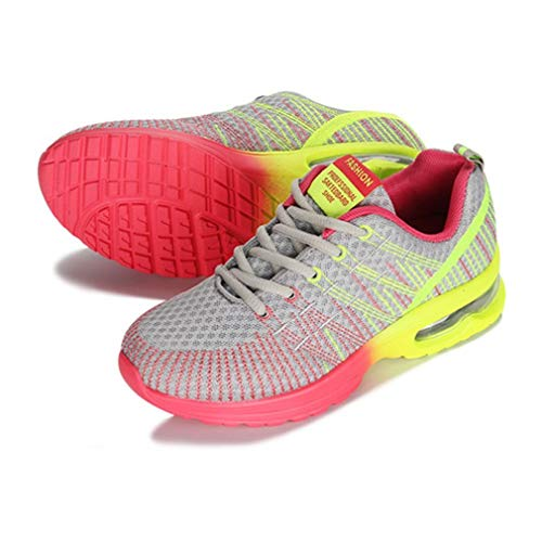 Scarpe da Corsa Sportive Donna Traspiranti Comode Stringate da Jogging all'aperto Scarpe da Ginnastica da Passeggio Sneakers in Rete Leggera Grigio, 40 Uniquelove