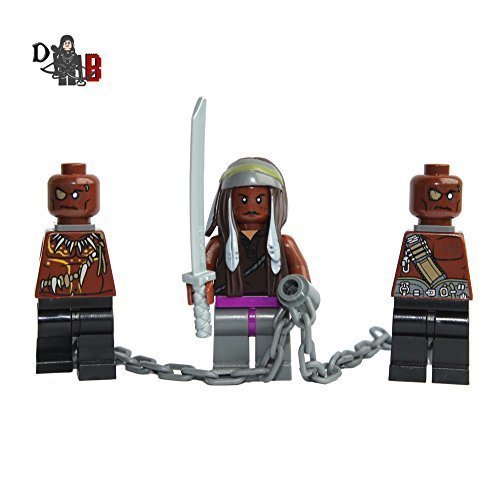 Demonhunter Bricks Custom The Walking Dead Michonne con Dos Walkers en Cadenas