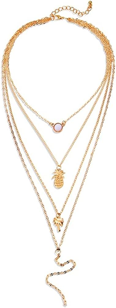 Coin Pineapple Beads Crystal Necklaces For Women Multi layer Y Gold Necklaces & Pendants Fashion Jewelry