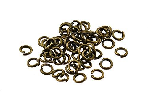 Vintageparts 100 Biegeringe in antik Bronze, 5 mm, DIY-Schmuck