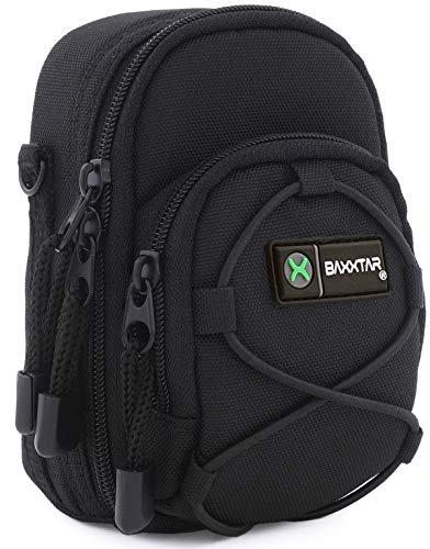 Baxxtar Blackstar V4 Kameratasche schwarz Größe (L) kompatibel mit Coolpix A900 A1000 S9900 - Lumix DC TZ202 TZ96 TZ91 DMC TZ101 TZ81 LX15 - PowerShot SX730 SX740