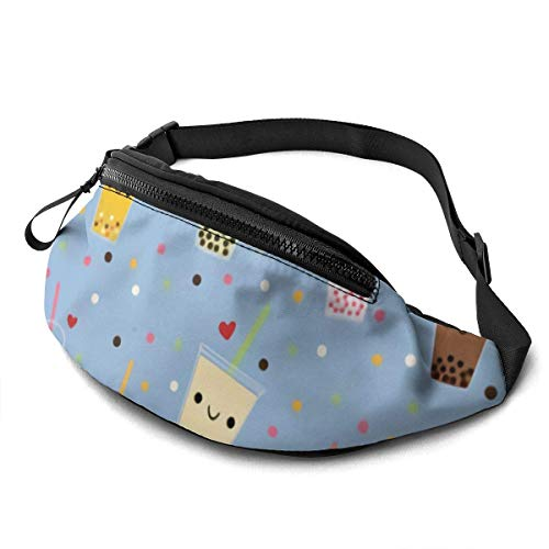 Unisex Casual Waist Bag Happy Boba Bubble Tea Fanny Pack Money Bum Bag with Adjustable Belt for Running Sports Climbing Travel