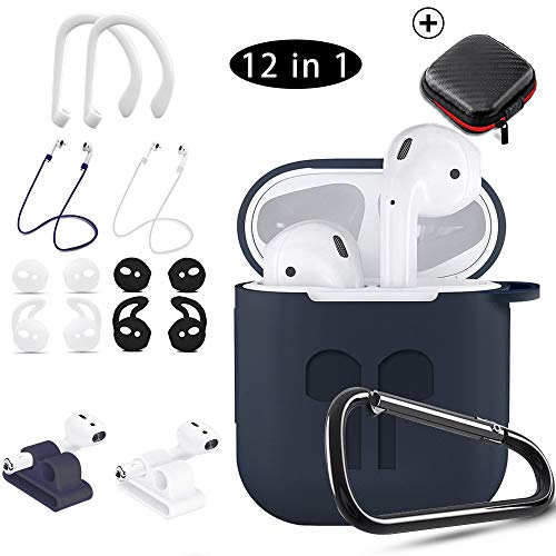 AirPods Case,KHTONE 12 in 1 Silicone AirPods Accessories Set Protective Cover, Compatible with Apple AirPods Charging Case,Watch Band Airpods Holder/Ear Hooks/Keychain//Carrying Box(Blue)