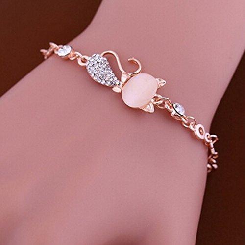 Lnlyin œil de chat en cristal rose opale avec bracelet pour femme