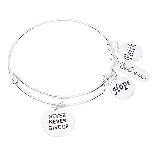 Infinity Collection Never Give Up Bracelet, Never Give Up Jewelry, Inspirational Charm Bracelet