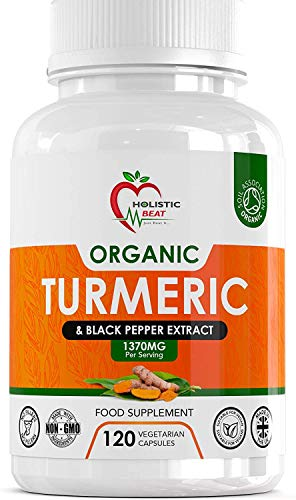 Organic Turmeric Curcumin And Organic Black Pepper - 1370 mg High Strength Supplements for Health – 120 Vegan Capsules - Soil Association Certified