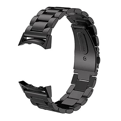 LEILEI Stlei Store Banda de Reloj Inteligente de Acero Inoxidable Apto para Equipo de Samsung S2 SM-R720 SM-R730 con Conector Adaptador Correa de Pulsera de Metal Deportivo. (Band Color : Black)