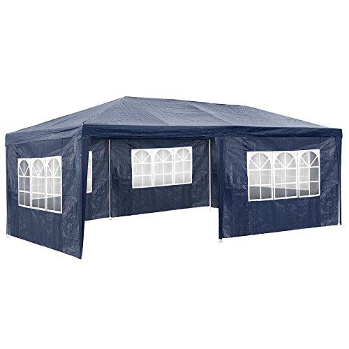 TecTake 800382 Pavillon Partyzelt Gartenzelt Eventpavillon | 3x6 m + 5 Seitenteile mit Fenster | - Diverse Größen (Blau | Nr. 402302)