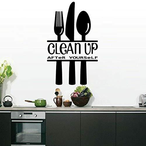 Grandes pegatinas de pared de cocina hágalo usted mismo limpiar después de limpiar cocina renovación de la casa vajilla de comedor calcomanías de vinilo para pared