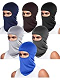 6 Pieces Unisex Balaclava Full Face Mask Winter Windproof Ski Mask (Black, Grey, Coffee, Blue, Light Grey, Navy Blue)