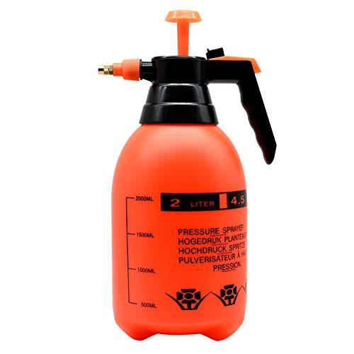 ZHONG AN One-Hand Pressure Sprayer, 2-Liter, Ergonomic Grip for Gardening, Fertilizing, Cleaning & General Use Spraying… (Black Handle)