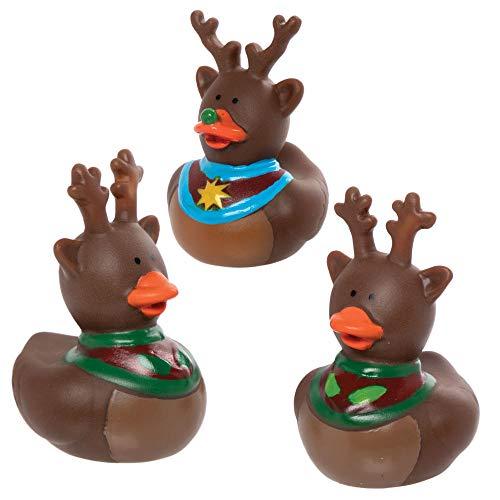 Baker Ross AX448 Rentier Gummienten - 6 Stück, Lustiges Spielzeug für Kinder zur Weihnachtszeit perfekte Party, Beute, Preis oder Korbfüller