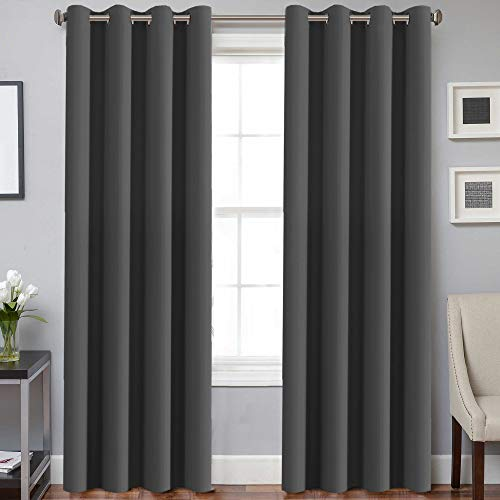 H.VERSAILTEX Blackout Room Darkening Curtains Window Panel Drapes - (Grey Color) - 2 Panels - 52 inch Wide by 84 inch Long, Charcoal Gray, Grommet Top