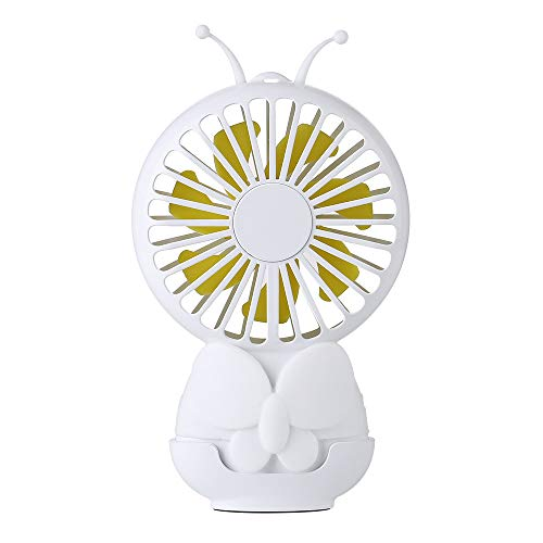 LDDCUTE USB-ventilator, vlindervorm, om op te hangen, nachtlampje, stil, klein, draagbaar, verstelbaar, 800 mAh, accu voor pc thuis of op reis, Wit