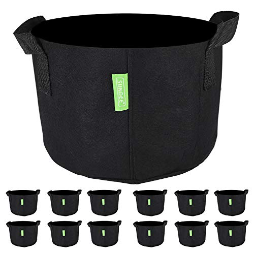 12-Pack 1 Gallon Heavy Duty Grow Bags , Black Aeration Fabric Pots with Handles , Indoor & Outdoor Grow Containers for Nursery Garden and Planting with Vegetables & Fruits