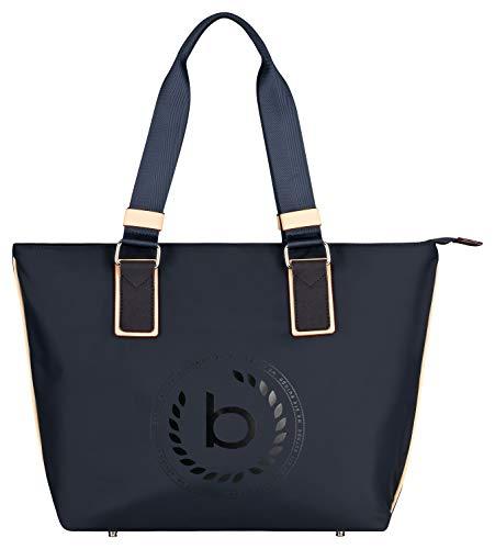 Bugatti Lido Shopper Handtasche Damen, Nylon Tasche mit RFID Fach, Große Damenhandtasche Schultertasche – Blau