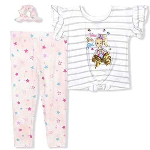 Nickelodeon JoJo Siwa Short Sleeve Shirt and Leggings Set with Hair Scrunchie for Girls, Size 2T White