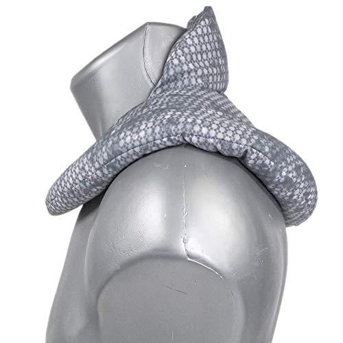 Coussin de nuque avec col montant - Bouillotte pour cervicales - Coussin aux graines de lin - Compresse chaude ou froide pour épaules et cou - Design: used look bleu-gris