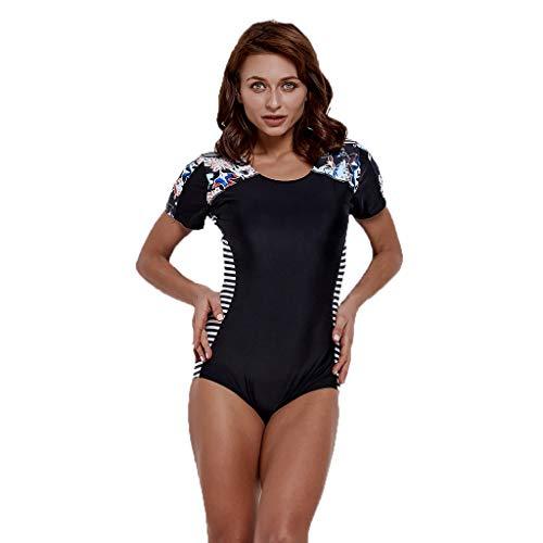 iYmitz Damen Einteiliger Surfanzug Push up Bademode Schwimmanzug Schnelltrocknend Effekten Kurzarm Frauen Swimwear(Schwarz,XL)