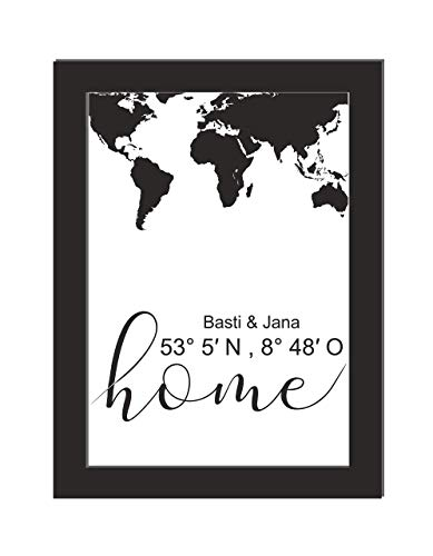 Personalisiertes Wandbild/Weltkarte/Koordianten/Geschenk Hochzeit/Einweihungsgeschenk/Home/DIN A 4, ohne Bilderrahmen