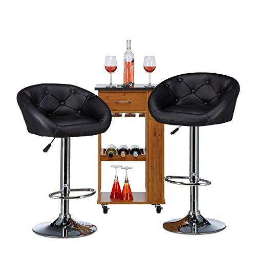 Relaxdays Barhocker höhenverstellbar GLENN mit Lehne, 2-er Set, Kunstleder, Modern, HxBxT: 103 x 54 x 46 cm, schwarz