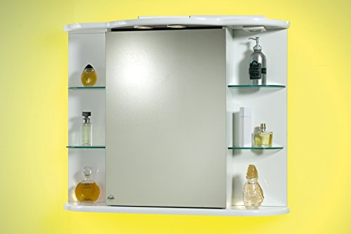 Bagno Italia Specchio specchiera per Bagno Contenitore da 88x66hx27 Laccato Bianco con mensole in Vetro 1 l