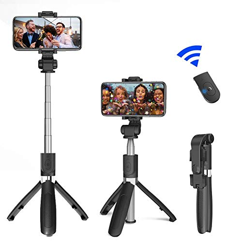 funnyfeng Palo selfie con trípode ajustable, giratorio, inalámbrico, Bluetooth, selfie Stick para la transmisión en directo de fotos