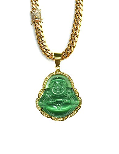 Laughing Buddha Big Green Jade Iced Diamond Pendant Necklace 14k Gold Miami Cuban link 8mm Anti Tarnish Chain Diamond CZ Lock Genuine Certified Grade A Jadeite Jade Hand Crafted, Healing Statue (18) -  Shop-iGold