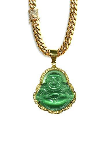 Laughing Buddha Big Green Jade Iced Diamond Pendant Necklace 14k Gold Miami Cuban link 8mm Anti Tarnish Chain Diamond CZ Lock Genuine Certified Grade A Jadeite Jade Hand Crafted, Healing Statue (22)