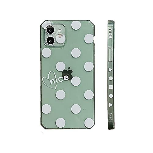 Keyihan Funda para Apple iPhone 11-6,1 Pulgadas Patrón de Lunares Blanco Amor Corazon Anti-choques Carcasa Protectora Claro Suave TPU Silicona Shockproof Bumper Case (Verde Transparente)