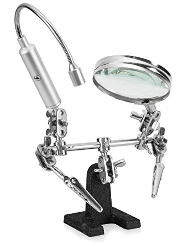 Ram-Pro Helping Hand Magnifier Glass Stand with Flexible Neck LED Flashlight & Alligator Clips – 3x Magnifying Lens, Perfect for Soldering, Crafting & Inspecting Micro Objects (Batteries Included)