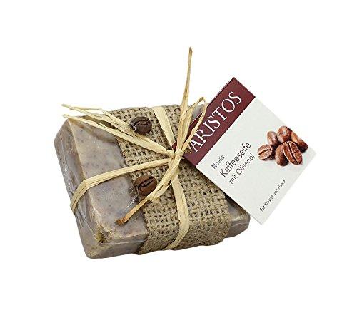 Olivenölseife mit Kaffee | Haarwaschseife | Duschseife | Seife für Peeling | Strapazierte Haut | ARISTOS (1x 100 g)