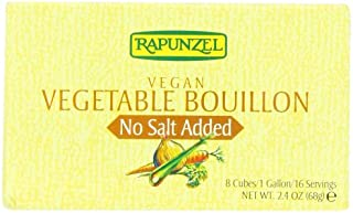 Rapunzel Pure Vegan Vegetable Bouillon, No Salt Added, 8 Cubes, 2.4-Ounce Packages (Pack of 6)
