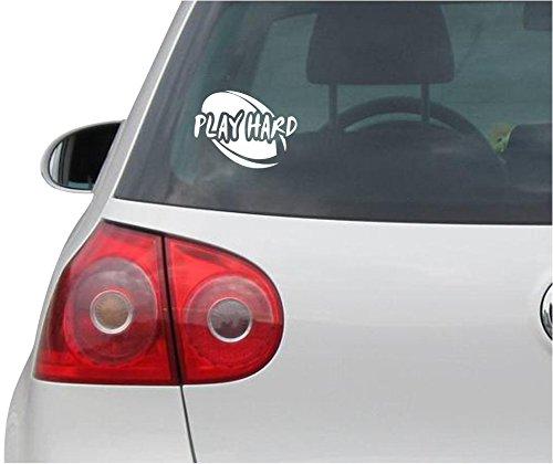 Aufkleber / Autoaufkleber - JDM - Die cut - Play Hard Rugby Decal Car Laptop Window Vinyl Sticker - weiß - 114mmx88mm