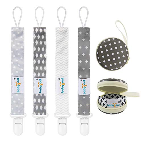 Babygoal Baby Plastic Pacifier Clips for Boys, 4 Pack with Pacifier Case for Teething Toy & Pacifier Clips for Boys and Girls Fits Most Pacifier Styles 4PS07-HZ
