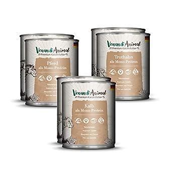 Venandi Animal Nourriture Premium Package Test II 4 Cheval/4 Veau/4 Dinde sans Céréale 6 pour Chat