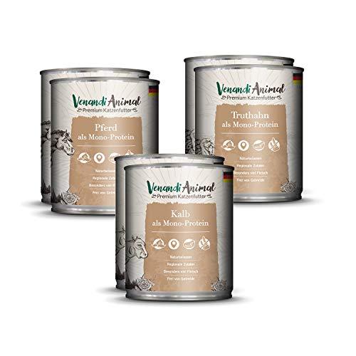 Venandi Animal Premium Nassfutter für Katzen, Probierpaket II, Pferd, Kalb, Truthahn, 6 x 800 g, getreidefrei und naturbelassen, 4.8 kg