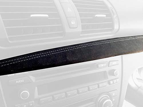 RedlineGoods Dash Pad Cover Compatible con BMW 1-Series E82-E87 2004-13 Cuero Negro Perforado Costura ROJA