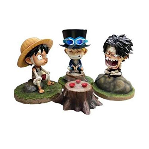 Doll Q Version Childhood GK Bandage Luffy, Saab, Ace, PVC Action Doll Toy Anime Model Collection kit H-2020-7-31
