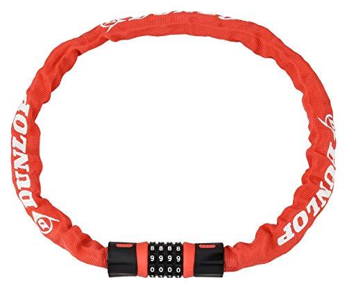 Dunlop Kettingslot met cijfercombinatie, veiligheidsslot 90 cm met 4-cijferige cijfercode, voor het vastzetten van fietsen, aanhangers, bromfietsen, kettingschakels 5 mm met zinklegering