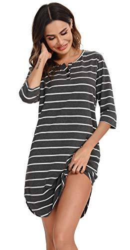 Vlazom 3/4 Ärmel Nachthemd V-Ausschnitt Damen Nachthemd mit Zwei Knöpfe Baumwolle Streifen Schlafhemd Damen Nachtwäsche mit Taschen(L,Stil A-Dunkelgrau)