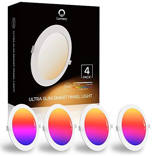 Intelligente Einbauleuchte Alexa, Lumary 18W WLAN LED Decken Strahler, Farben Dimmbar RGBWW 2700K-6500K Smart Einbaustrahler, Musik Deckenspots Kompatibel mit Alexa Google Home, Ersetzt 180W, 4 Stück