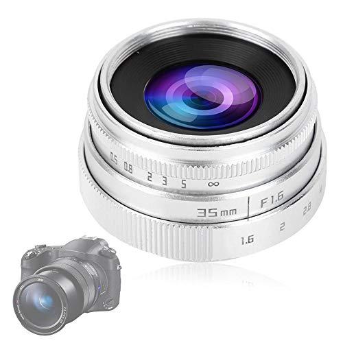 Obiettivo della fotocamera 35mm F1.6-16 Obiettivo CCTV Obiettivo a grande apertura C, obiettivo manuale Micro lente singola Aps-c(Argento)