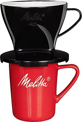 Melitta Kaffee-Set, Kaffeehalter für Filtertüten und Porzellan-Tasse, Kaffeefilter 1x2 Standard, Kunststoff und Porzellan, Schwarz und Rot, 217915